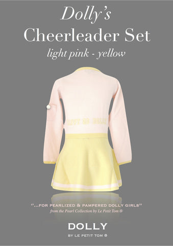 DOLLY Cheerleader Set in light pink & yellow
