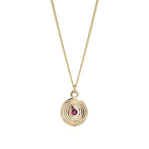 9ct Gold and Ruby Spiral Pendant