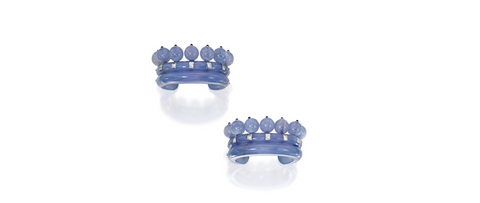 Pair of White Gold, Chalcedony, Sapphire and Diamond 'Couronne' Cuff-Bracelets, Suzanne Belperron, Paris