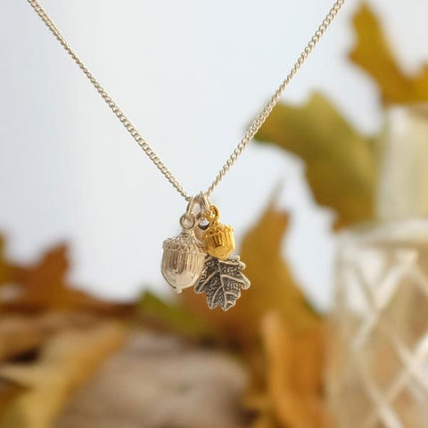 Two acorn and oak leaf necklace