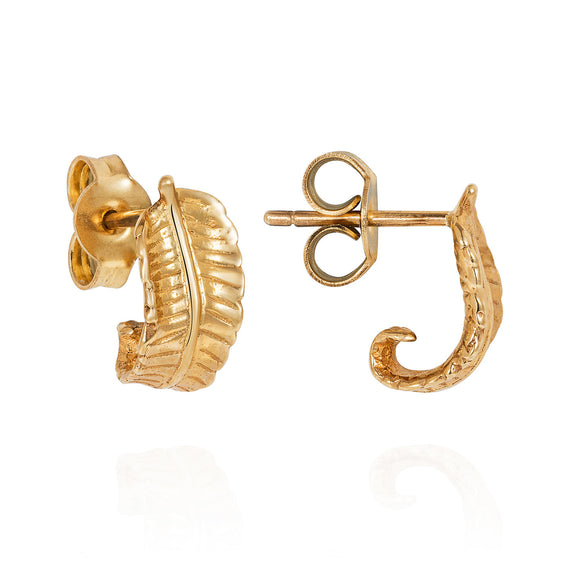 Gold Curled Fern Earrings - Joy Everley Fine Jewellers, London