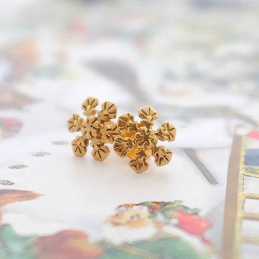 Gold Snowflake Ear Studs - Joy Everley Fine Jewellers, London