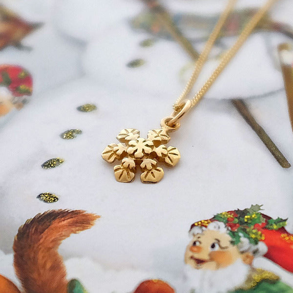 Gold Snowflake Necklace - Joy Everley Fine Jewellers, London