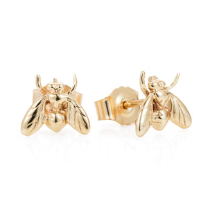 Gold Little Fly Ear Studs - Joy Everley Fine Jewellers, London