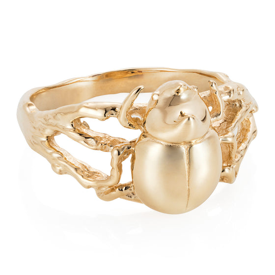 Gold Little Rhino Beetle Ring