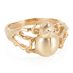 Gold Little Rhino Beetle Ring - Joy Everley Fine Jewellers, London