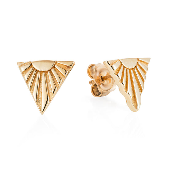 Gold Ray V Ear Studs - Joy Everley Fine Jewellers, London