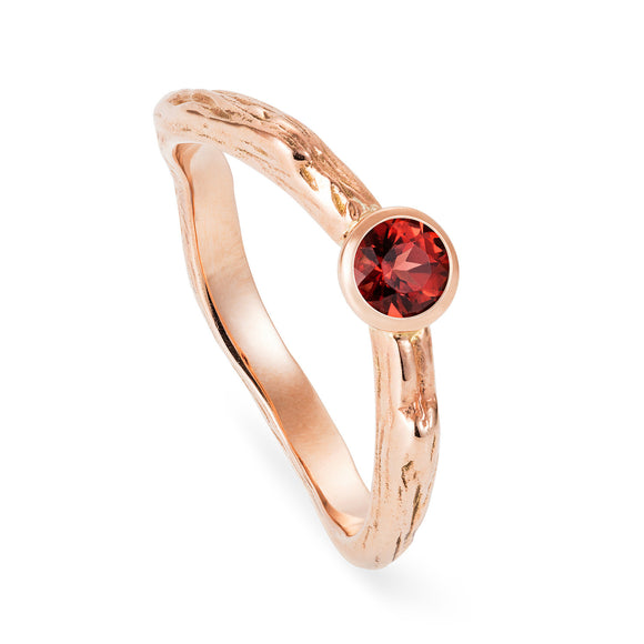 Custom Gold and Garnet Twig Ring - Joy Everley Fine Jewellers, London