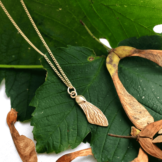 Gold Sycamore Wing Necklace