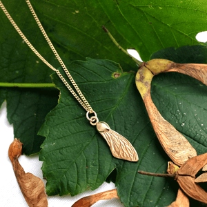 Gold Sycamore Wing Necklace - Joy Everley Fine Jewellers, London