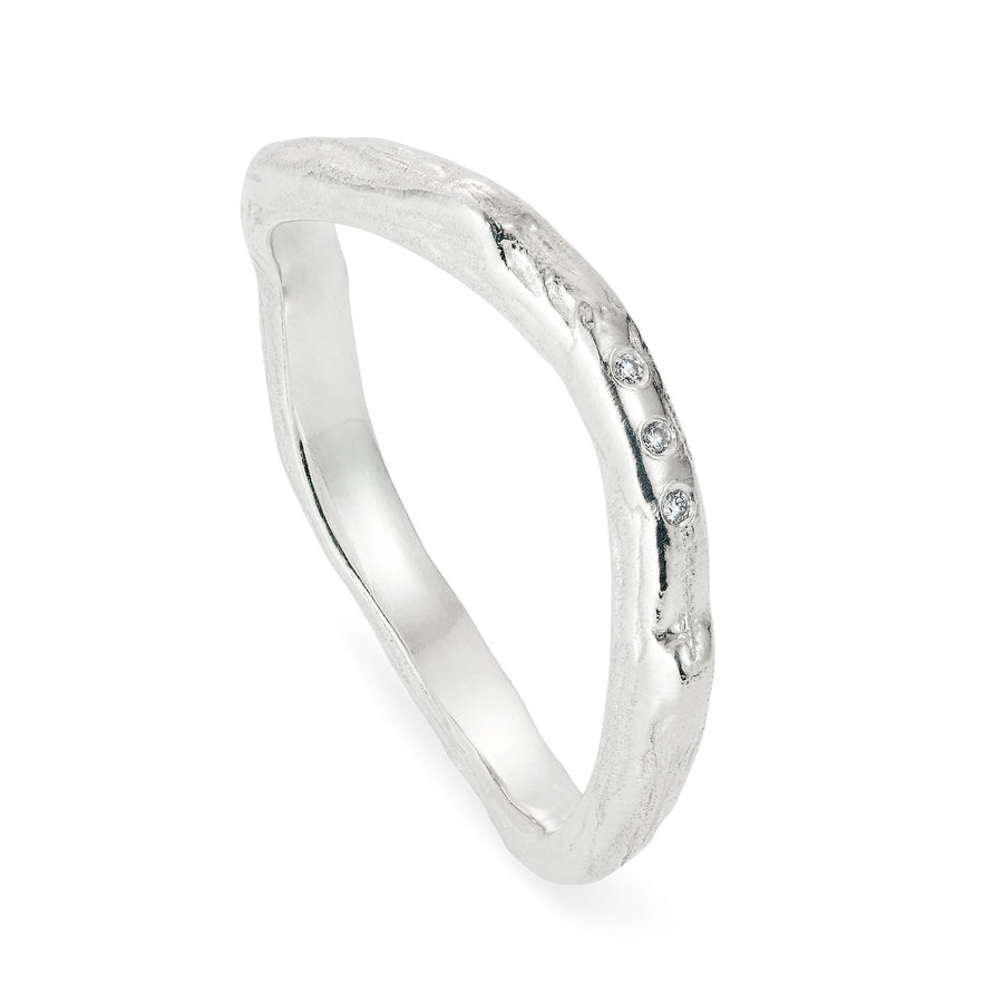 Custom White Gold and Diamond Twig Ring - Joy Everley Fine Jewellers, London