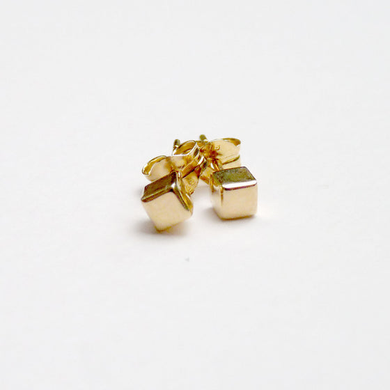 Gold Cube Earrings - Joy Everley Fine Jewellers, London