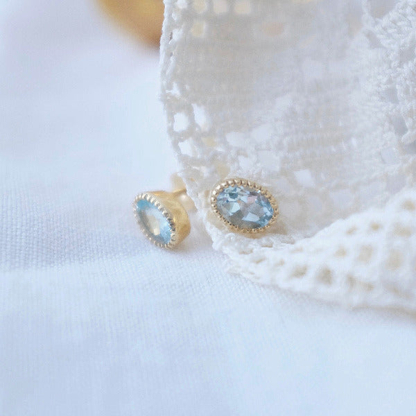 Gold Baroque Ear Studs with Gemstones