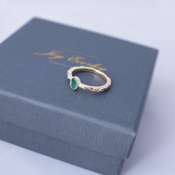 Baroque Emerald Ring