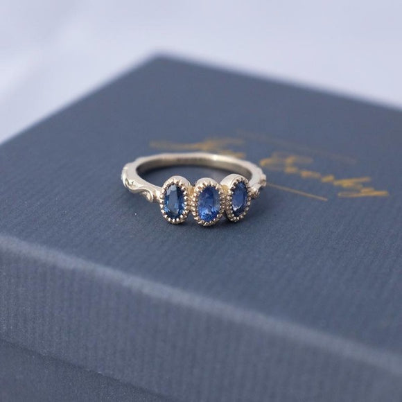 Gold Baroque Sapphire Trilogy Ring
