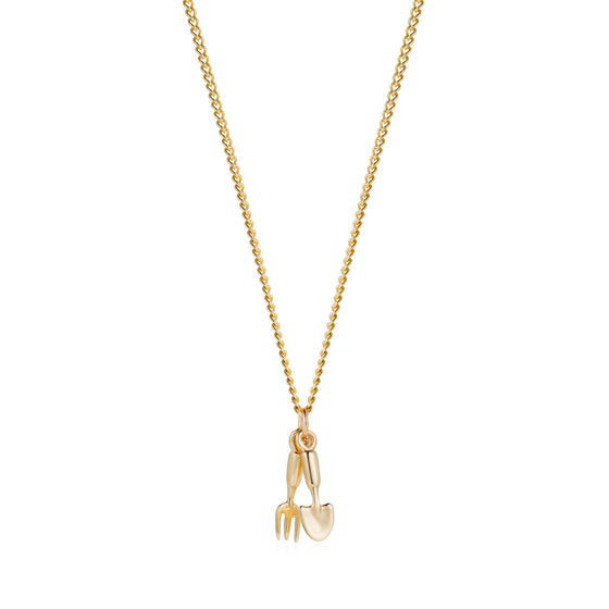 Gold Fork & Trowel Necklace - Joy Everley Fine Jewellers, London
