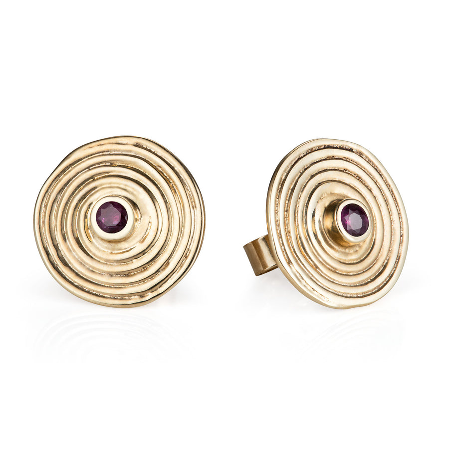 Ruby & Solid Gold Spiral Ear Studs by Joy Everley