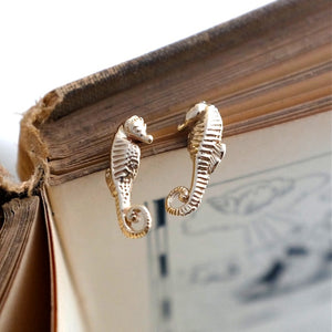 Solid Gold Seahorse Ear Studs by Joy Everley