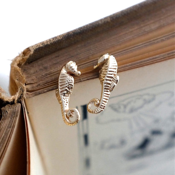 Gold Seahorse Ear Studs - Joy Everley Fine Jewellers, London
