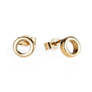 Gold Simple Circle Ear Studs - Joy Everley Fine Jewellers, London