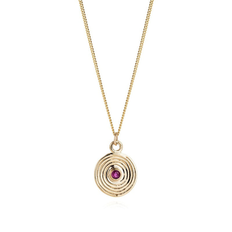 Ruby Solid Gold Spiral Necklace by Joy Everley