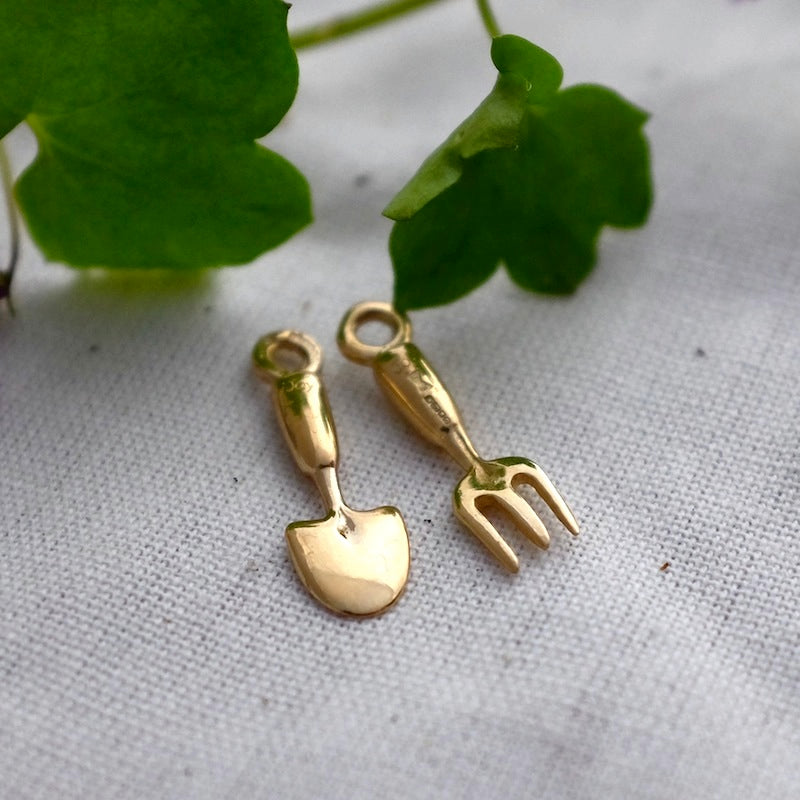 Gold Fork & Trowel Charm - Joy Everley Fine Jewellers, London