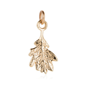Gold Oak Leaf Charm - Joy Everley Fine Jewellers, London