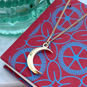 Solid Gold Crescent Moon Necklace by Joy Everley