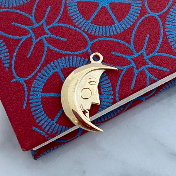 Solid Gold Man in the Moon Necklace by Joy Everley