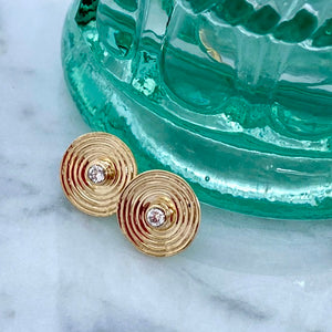 Solid Gold Spiral Ear Studs with Diamonds by Joy Everley