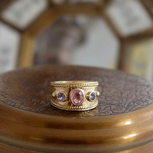 Solid Gold Pink Sapphire Etruscan Style Ring by Joy Everley