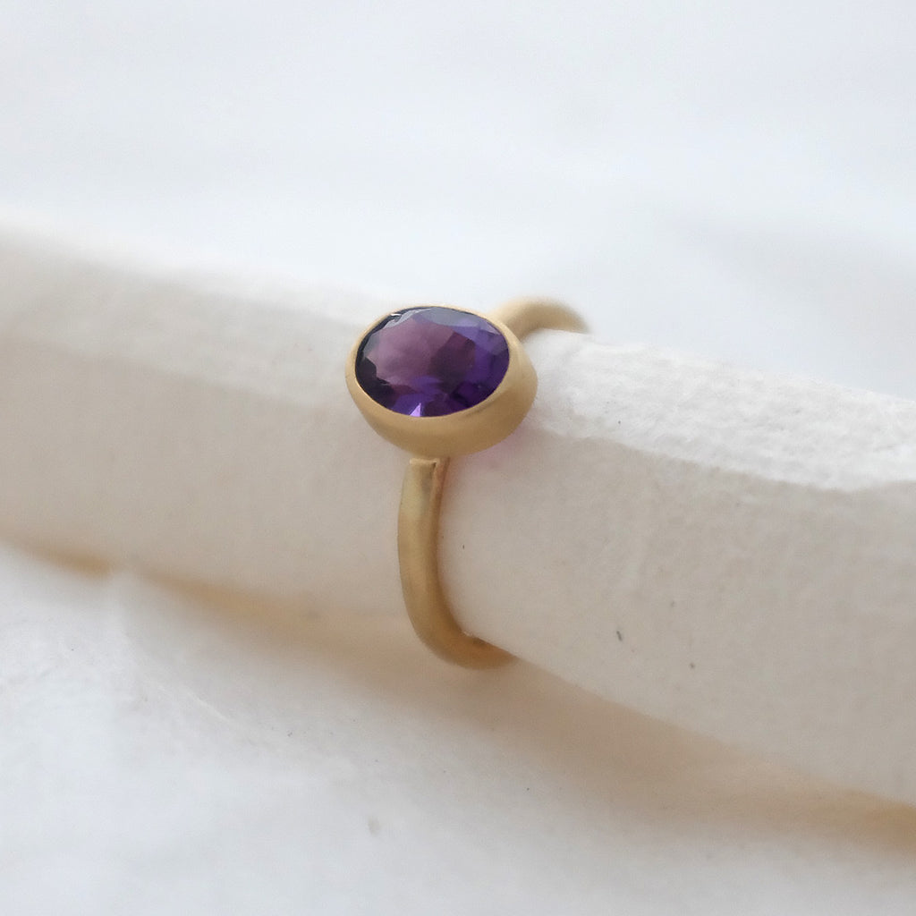 Gold Amethyst Birch Ring
