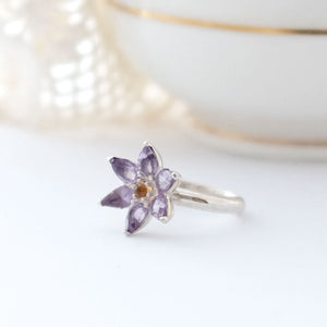 Small Amethyst Flower Ring - Joy Everley Fine Jewellers, London