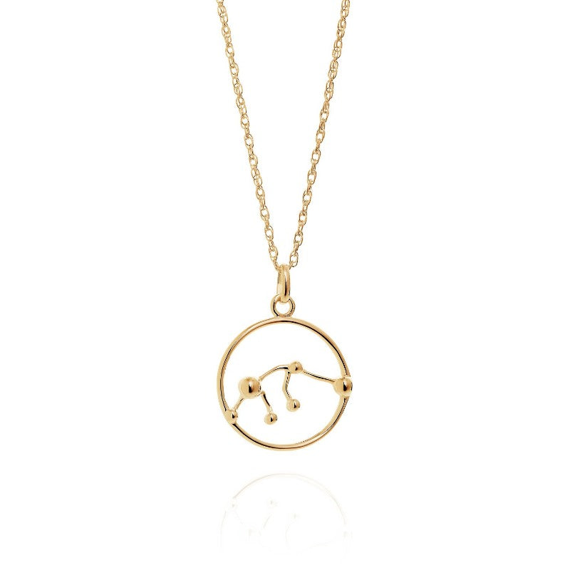 Solid Gold Aquarius Astrology Necklace by Yasmin Everley