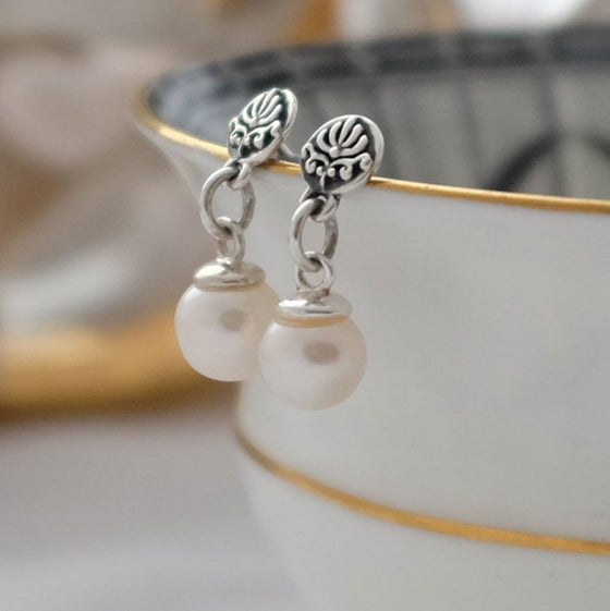 Baroque Earrings with White Pearl - Joy Everley Fine Jewellers, London