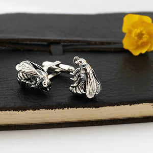 Silver Bumble Bee Cufflinks by Joy Everley