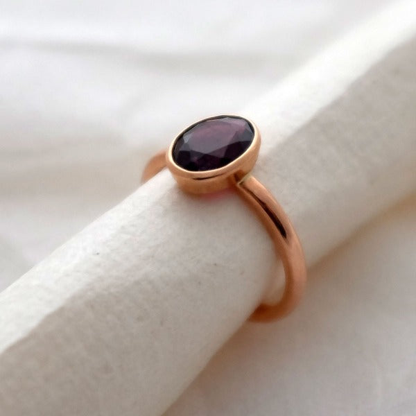Rose Gold Garnet Cocktail Ring - Joy Everley Fine Jewellers, London