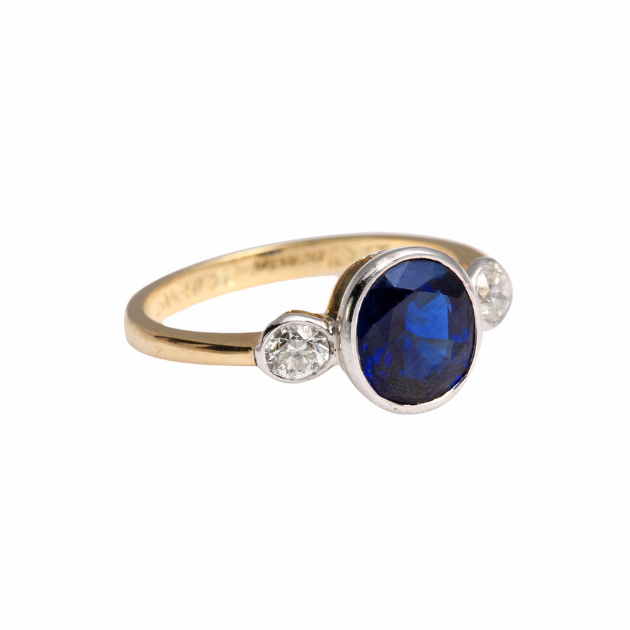 Sapphire & Diamond Trilogy Ring - Joy Everley Fine Jewellers, London