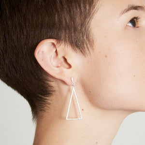 Triangular Birch Silver Earrings by Joy Everley
