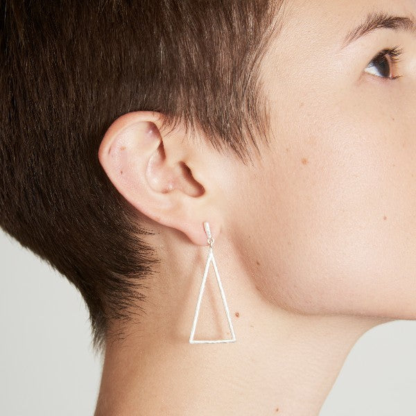 Birch Triangle Drop Ear Studs - Joy Everley Fine Jewellers, London