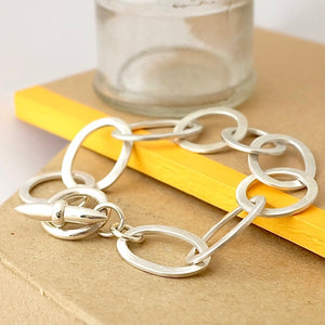 Hammered Link Silver Bracelet by Joy Everley