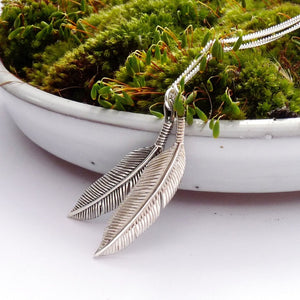 Silver Two Feather Necklace
