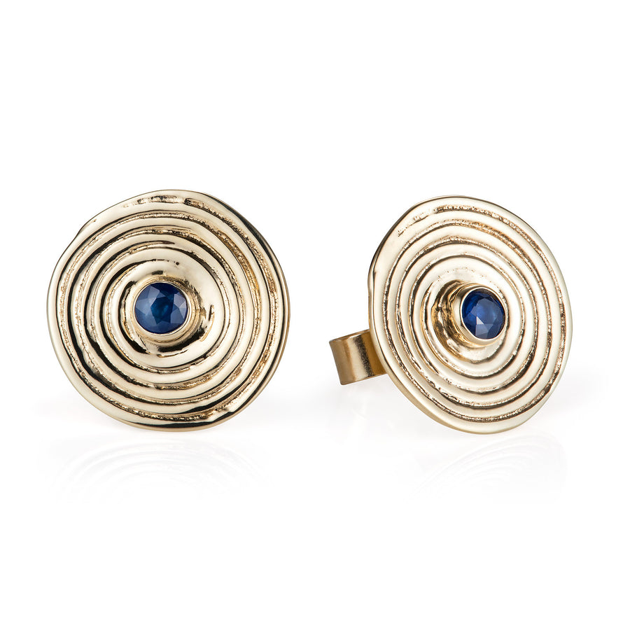 Sapphire & Gold Spiral Ear Studs - Joy Everley Fine Jewellers, London