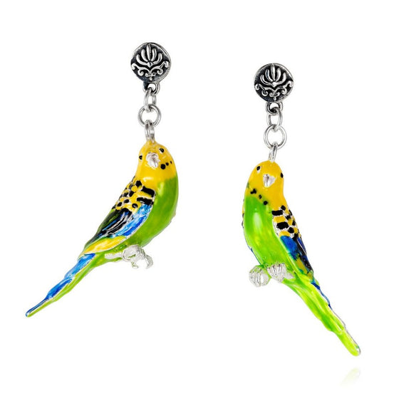 Enamel and Silver Budgie Drop Earrings