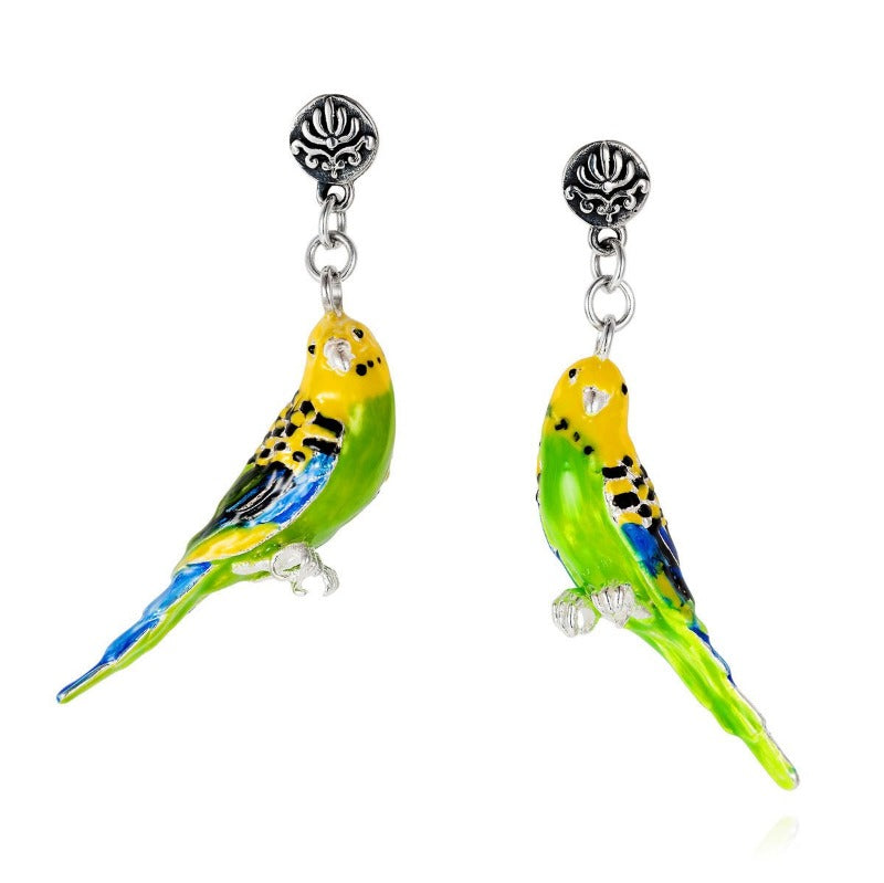 Budgerigar Earrings - Joy Everley Fine Jewellers, London