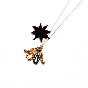 Bunch of Silver & Gold Chillies Necklace by Joy Everley