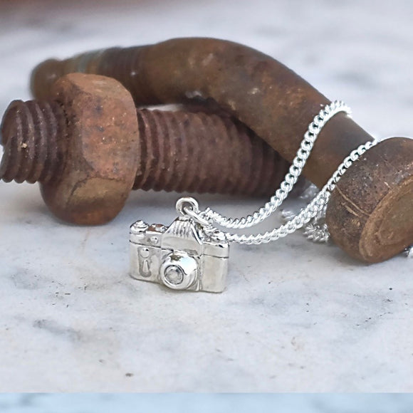 Silver camera necklace
