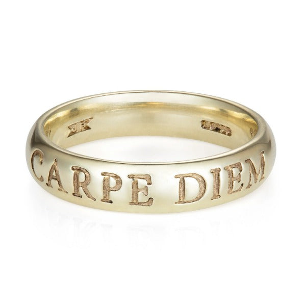 White Gold Latin Carpe Diem Ring - Joy Everley Fine Jewellers, London