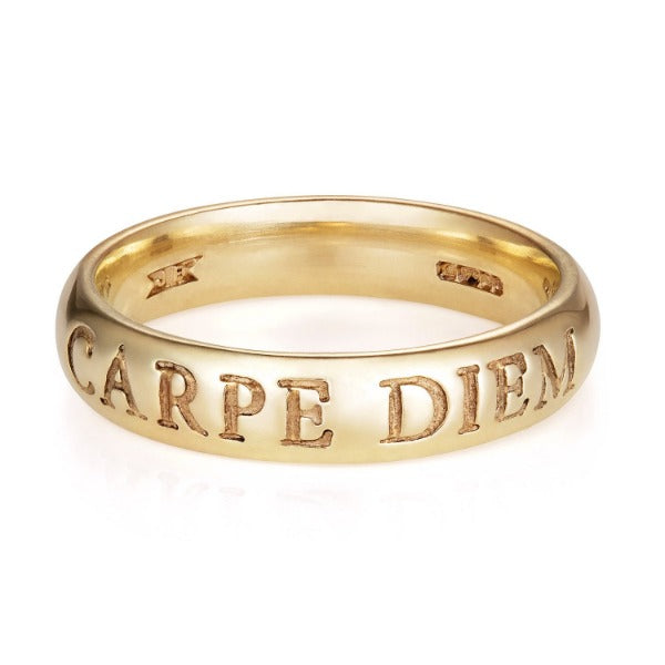 Yellow Gold Latin Carpe Diem Ring