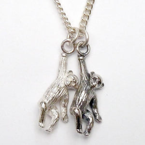 silver monkey charm necklace